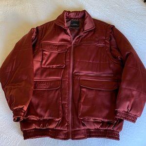 Puffer Utility Jacket Vest Burgundy